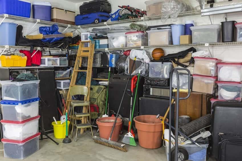 cluttered garage storage